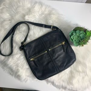 Fossil black leather purse/ bag